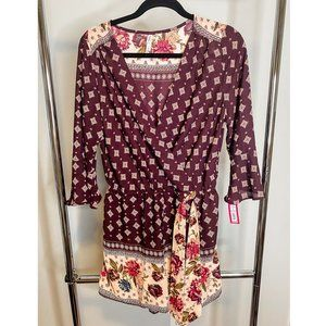 Vintage Patterned Romper With Floral Belt